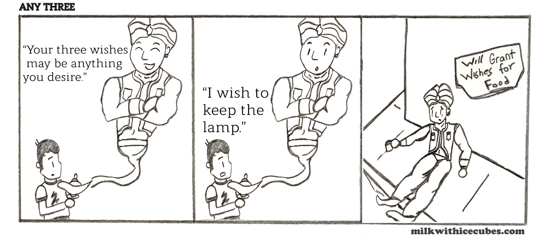 geni, three wishes, loophole, milk